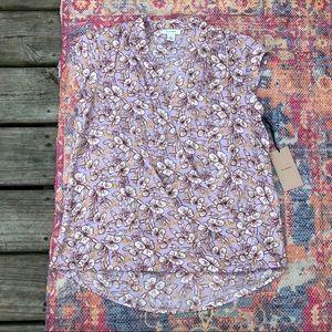 NWT Halogen purple floral blouse